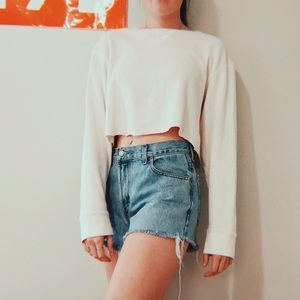 GAP RIBBED CROPPED LONG SLEEVE WHITE TOP